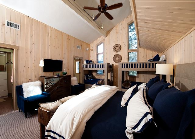 Master Bedroom with King Bed, 2 Sets of Twin Bunk Beds, TV