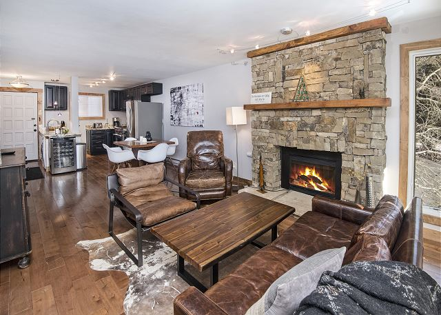 Living space with fireplace.