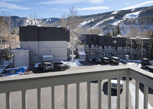 Deck view towards ski mountain.
