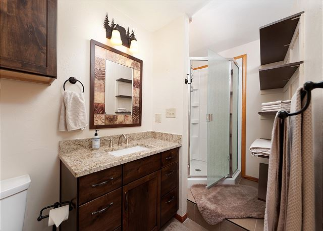 Main Level bathroom - Adjacent to the 3rd bedroom and main living space