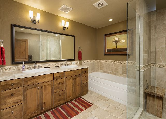 Master bathroom with tub and shower.