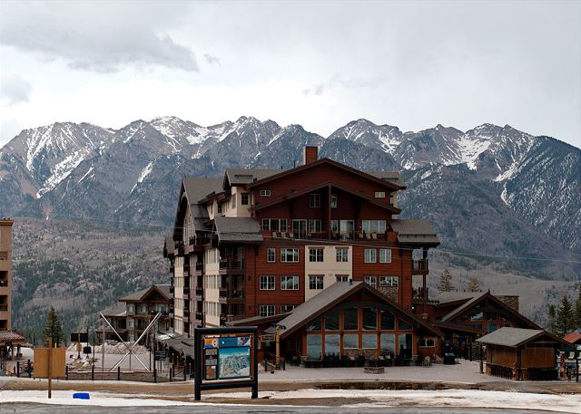 Exterior view of the Purgatory Lodge building. Ski-in/Ski-out condo at Purgatory Resort in Durango, CO.