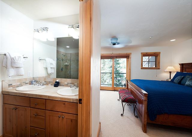 Master Bedroom - King, TV, Gas Fireplace, Deck and sitting area (attached Master Bathroom)