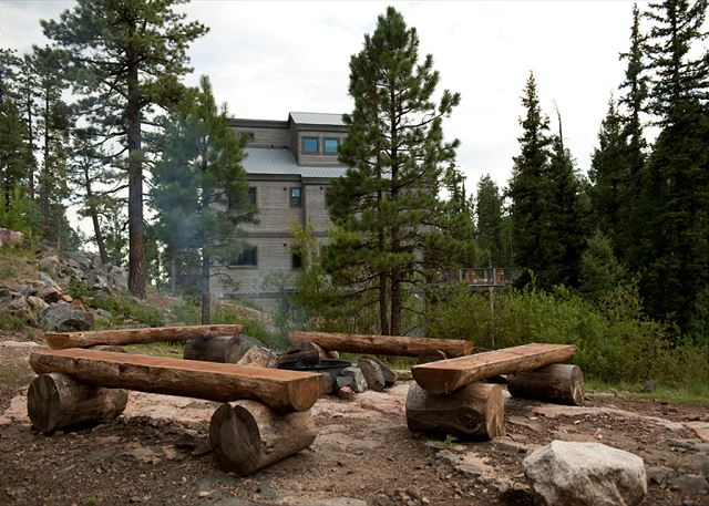 Fire pit adjacent to the home