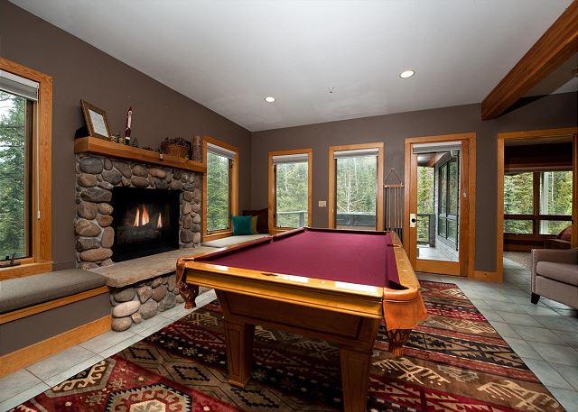 Pool Table Room - Gas Fireplace, TV and Views