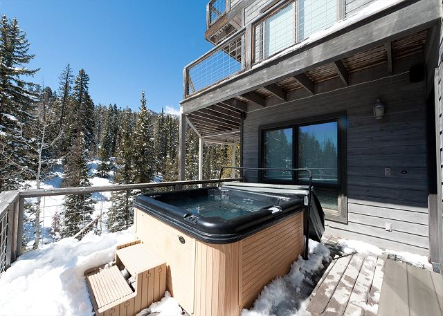 Hot tub and view of the 3 decks