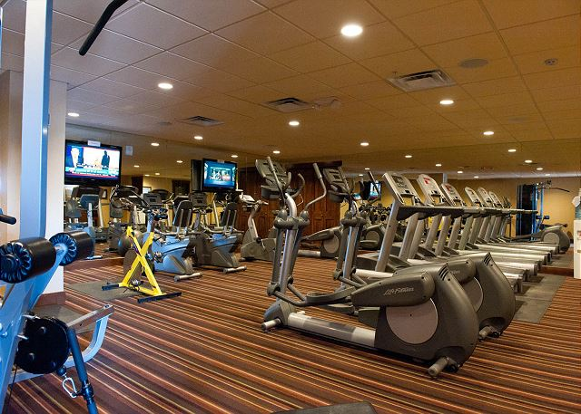 Purgatory Lodge gym. This is an optional amenity that you can access the Purg Lodge pool, hot tub, and gym facilities by paying an additional 4% fee.