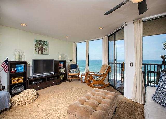 Oceanfront living room with spectacular view