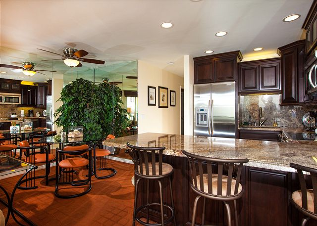 Beautiful fully equipped kitchen with counter