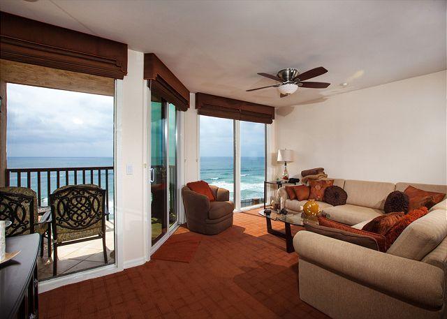 Living room with beautiful ocean views