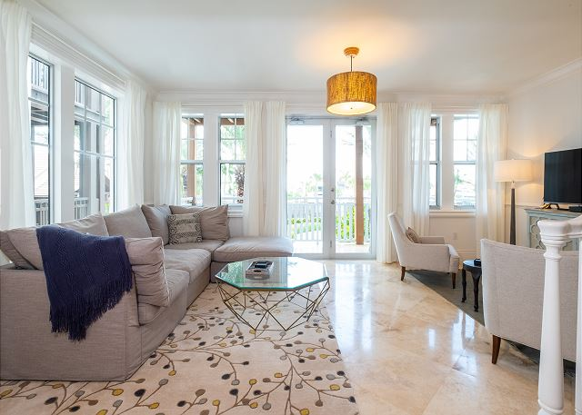 Residence #3824 - Living Room with Private Terrace overlooking Pool Deck