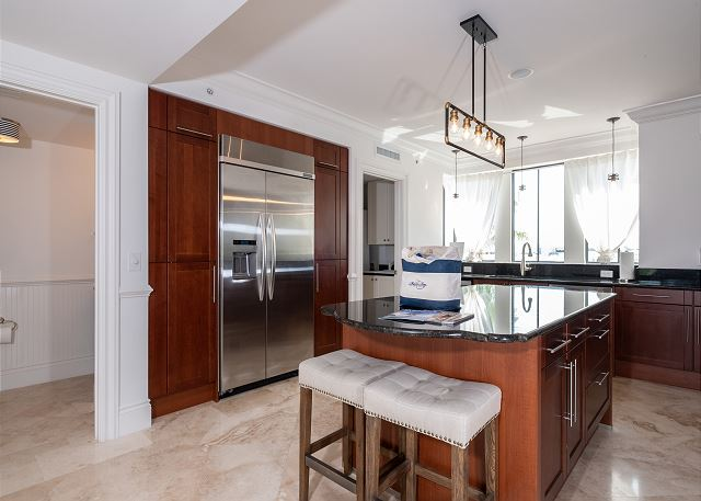 Residence #3826 - Spacious Kitchen with Center Island & Adjoining Half-Bathroom