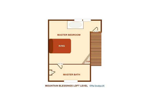 Upper level floor plan.