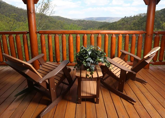 Rocking chairs on cabin deck.