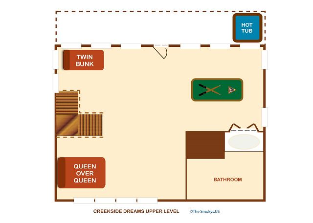 Floor plan of upper floor.
