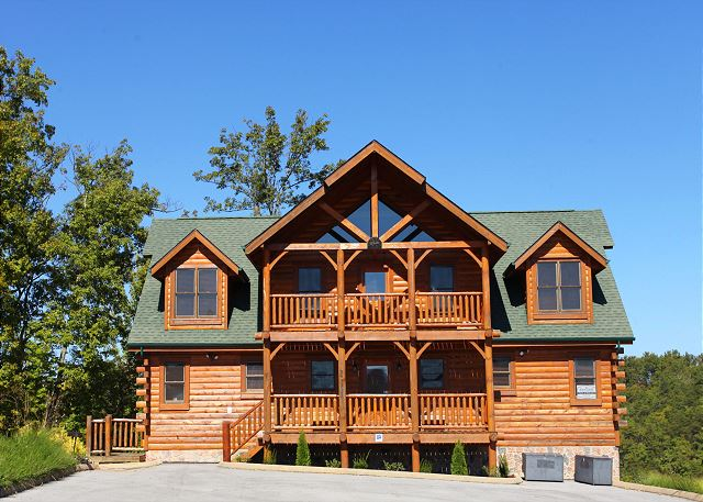 View of cabin exterior from parking area