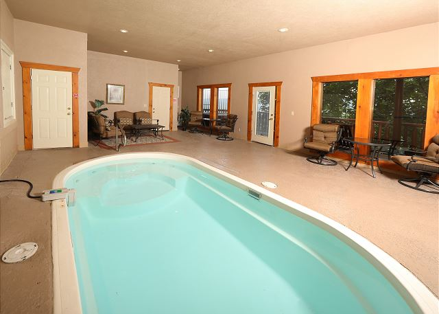 The pool inside the cabin.
