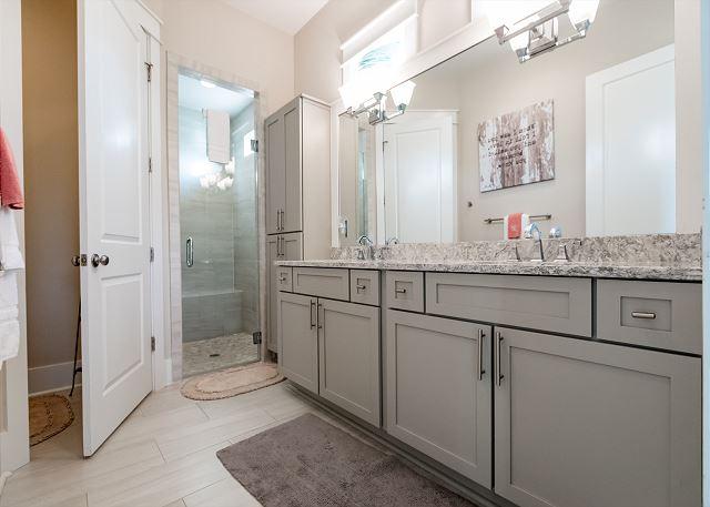 1st Floor Master Bathroom Double Vanities and Walk-In Shower