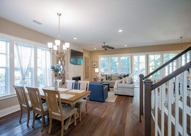 Open Dining, Living, and Kitchen Area