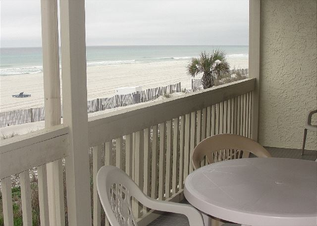 Large, corner condo,  flat floor plan, and the balcony extends from the Living Room over to the gulf front Master Bedroom, with slider door access from each gulf front room.