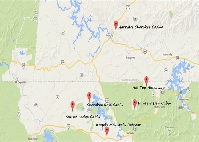 Cherokee Rose and other cabins locations