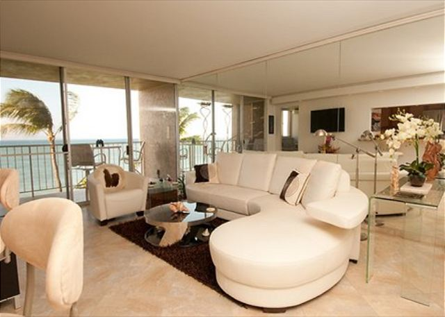 You could almost dive in from this high end luxury ocean front suite. A view from every room!