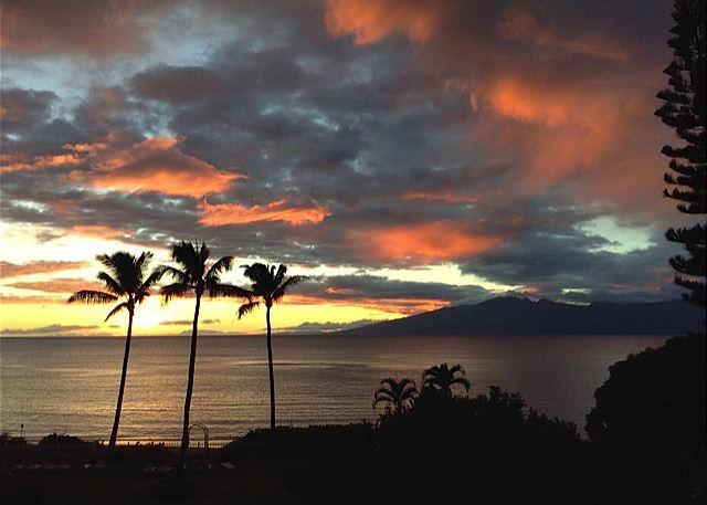 Maui sunset over the Island Molokai