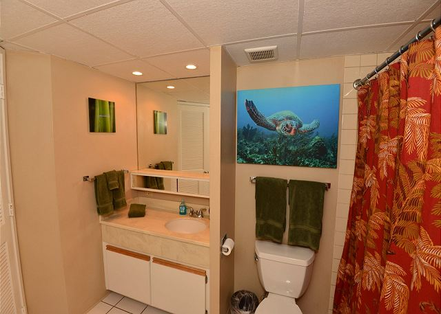 Large full bathroom with tub and shower.  Amenities included.