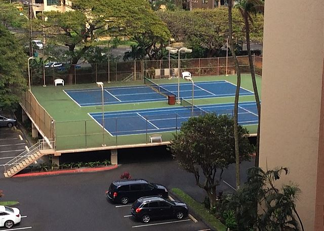 Tennis courts and covered parking