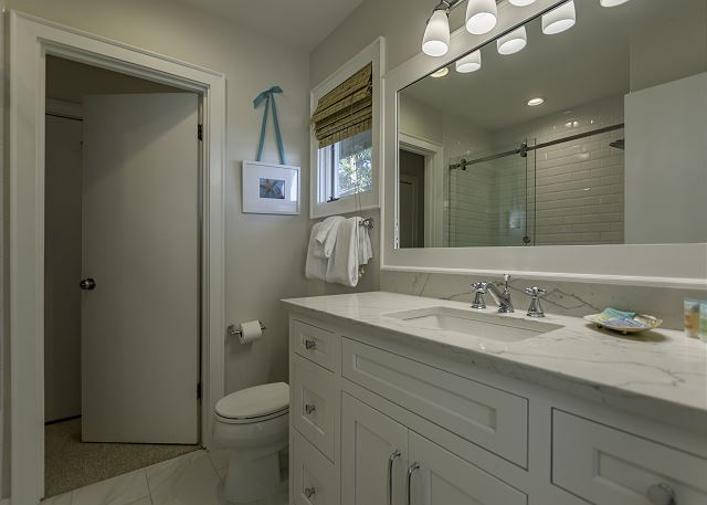 Renovated shared guest bath