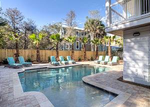 Large private pool with spacious sundeck and chic lounge area