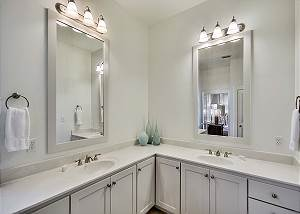 Lots of storage space in master bath. Bath towels available in all bathrooms