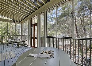 Screened in back porch with outdoor dining and lounge area