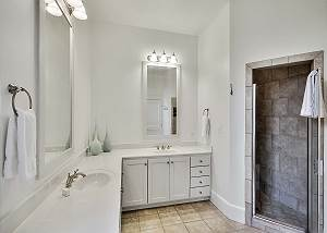 Master Bath with dual vanity sink and walk in shower