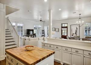 Lots of counter space and storage in the kitchen.