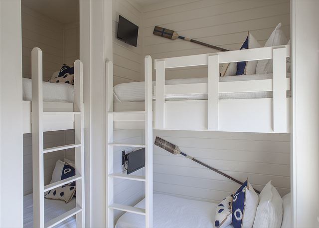 Bunk Room with two Queen over Queen bunk and adjacent Full Bath