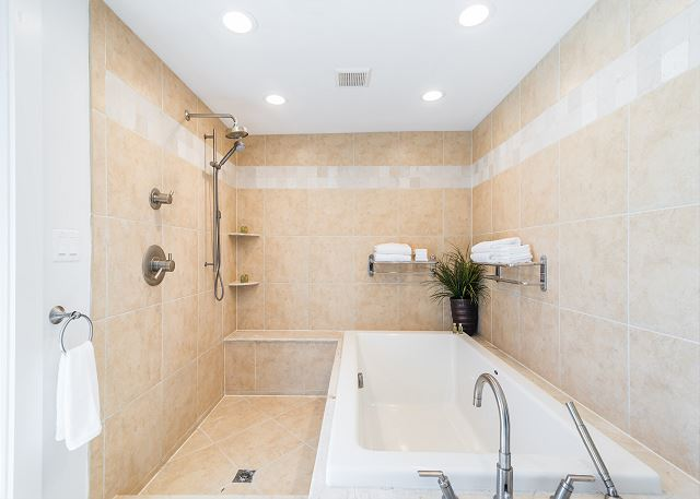 Master Bathroom With Large Sunken Tub And Walk-in Shower!