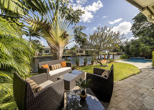 Loungers with Pool and Waterway Views!