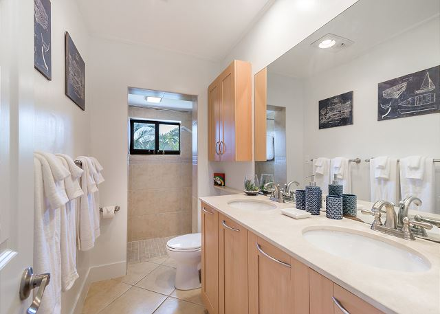 Guest Bathroom with Walk-in Shower And Double Sinks!