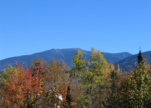 The sizable deck at the Ridge Top Family House provides some outstanding views of the area's largest mountain ridge lines; which include Mount Lafayette, Lincoln and aspects of Cannon Mountain Ski Area. This location IS living in the White Mountains.