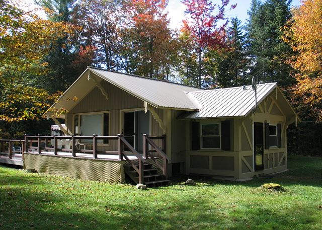 The Franconia Slalom Chalet is a professionally managed vacation rental; the secluded, newly renovated 3 bedroom, 2 bath chalet is a guest favorite. Central A/C, screened porch,  plus open deck space, all within a 5 mile drive of Cannon Mountain and all that Franconia Notch has to offer.