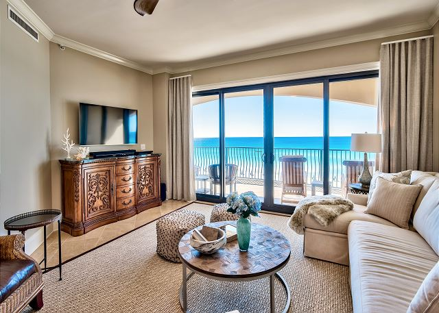 Living area with view of the gulf