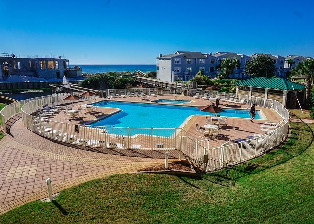 View of pool from spacious balcony