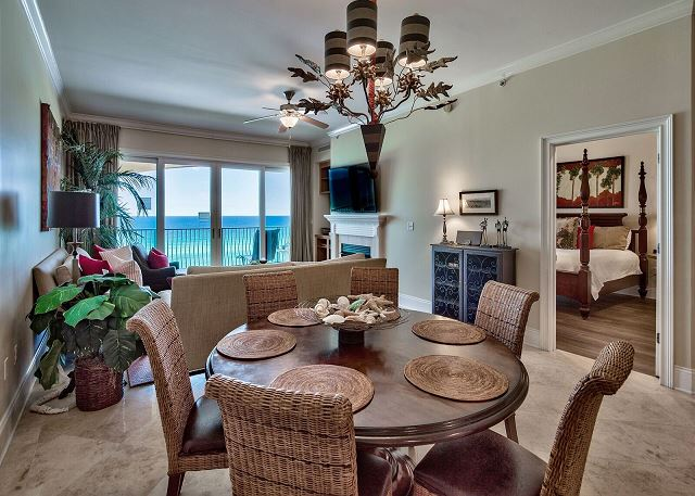 Dining area with round table for family meals.