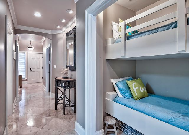 Bunk room with privacy curtain