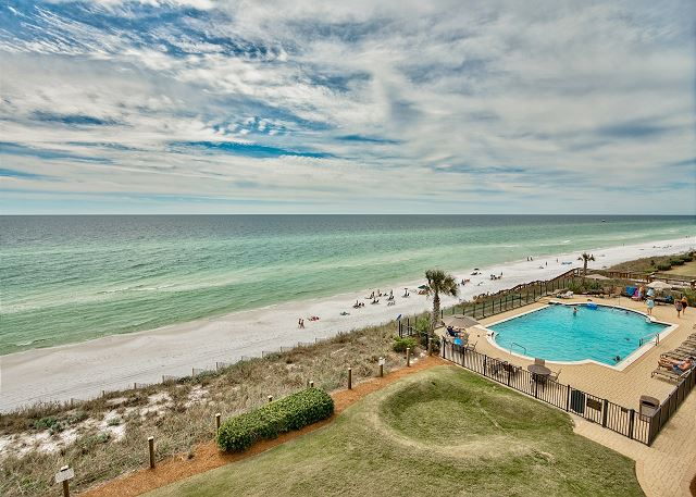View of gulf front pool from A305 balcony