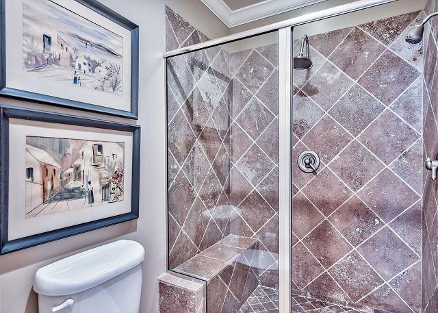 Master bathroom private commode/shower area