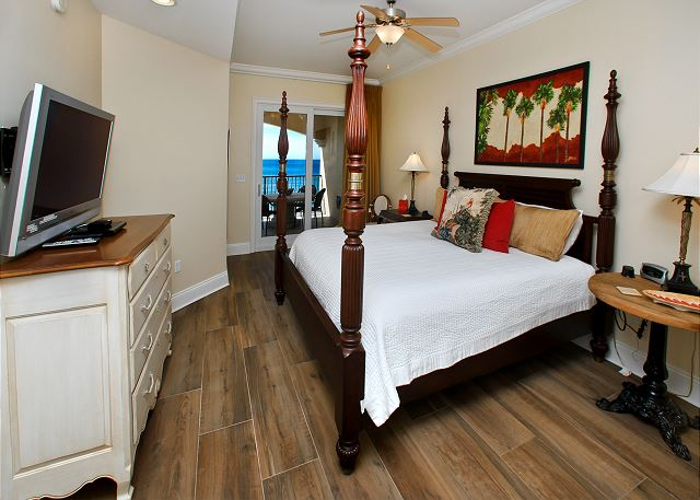 Master bedroom with adjoining master bathroom.