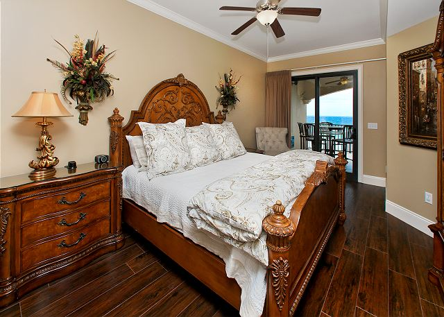 Master bedroom with view of beach
