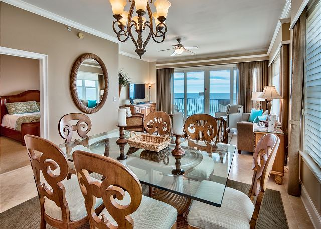 Dining area with view of gulf